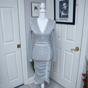 NWT Lavish Alice Signature Silver Sequin Dress